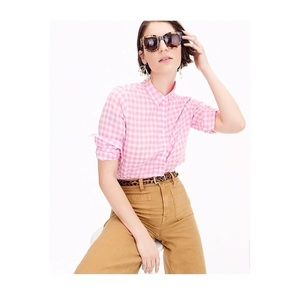 "J Crew button-down ""boy"" shirt in pink gingham"